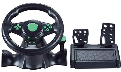 Six6 Volante, PC, computadora USB Connection Conexión con Cable de dirección, vibración de rotación de 180 Grados con Pedales Racing Juego Volante para Xbox 360 / PS3 / P2 / PC,Verde