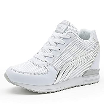AONEGOLD Womens Hidden Wedges Shoes High Heeled Lightweight Mesh Sneakers Casual Walking Shoes Tennis Chic Size 40 White