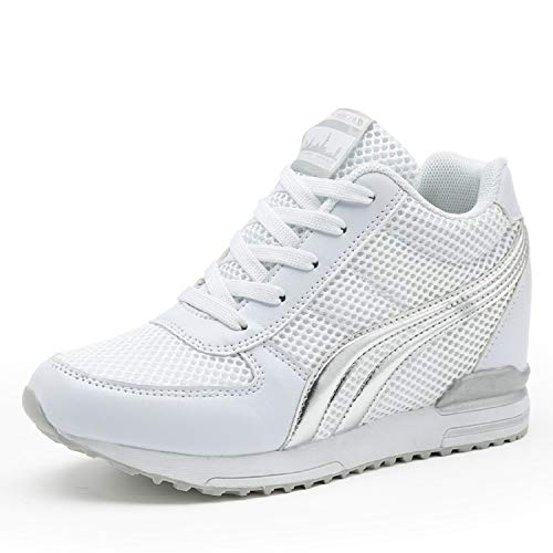 TQGOLD Womens Hidden Wedges Shoes High Heeled Lightweight Mesh Sneakers Casual Walking Shoes Tennis Chic(Size 40, White)