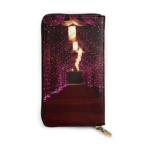 Lámparas y luces de cadena púrpura con cortinas de moda impreso carteras para mujeres cremallera embrague carteras bolsa titular de la tarjeta