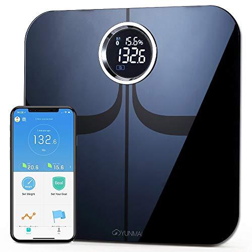 YUNMAI Premium Báscula de Baño Grasa Corporal Digital Precisión Bluetooth iOS y Aplicación de Android, 10 Datos Corporales Multiusuario Compatibles con Apple Health, Google Fit (Negro)