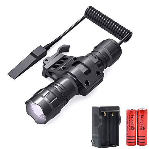 WINDFIRE Tactical Flashlight 2000 Lumens LED Weapon Light with Quick Release Picatinny Rail Mount Offset Mount for Outdoor Hunting,Remote Pressure Switch,Batteries & Charger Included