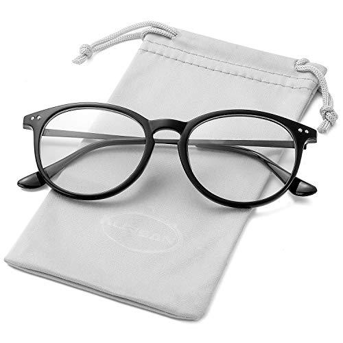 Non Prescription Clear Lens Fake Glasses for Women Men Retro Round Metal Frame Eyeglasses (Bright Black)