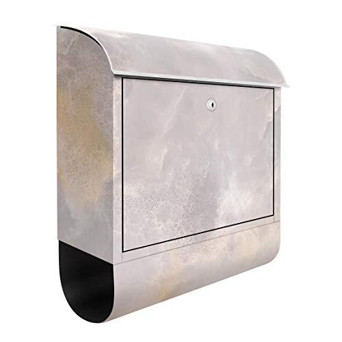 Bilderwelten Briefkasten mit Zeitungsrolle Onyx Marmor Grau 46cm x 39cm