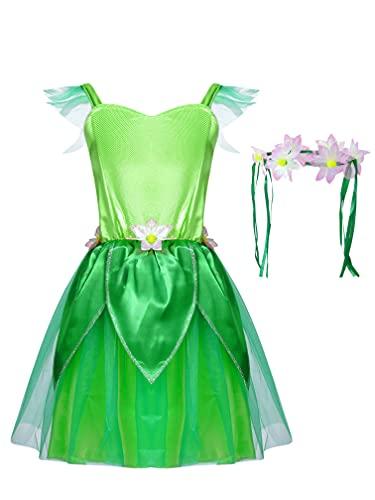 MSemis Disfraz de Hadas de Bosque Nias Vestido Elfos de Fiesta Navidad Carnaval Halloween Disfraz de Campanillas Nia 1-10 aos Verde A 3-4 aos