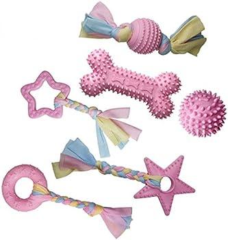 YUECUTE Lot de 6 jouets à mâcher pour chiot avec balle et cordes en coton Rose