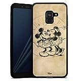 DeinDesign Silikon Hülle kompatibel mit Samsung Galaxy A8 Duos 2018 Hülle schwarz Handyhülle Mickey Mouse Minnie Mouse Vintage
