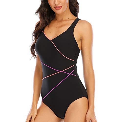 Damen Sportlicher Einteiler Badeanzug Damen Badeanzug Einteilig Sport Schwimmanzug für Damen (Schwarz-LRP, DE42)