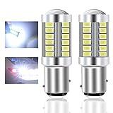 Teguangmei 1157 BAY15D P21/5W Lampadine LED per Auto Bianca 900LM Super Luminosi 5730 33-SMD LED Freno di Retromarcia Coda Stop Fendinebbia Posteriore Luce di Posizione 12-30V 3.6W- 2Pcs
