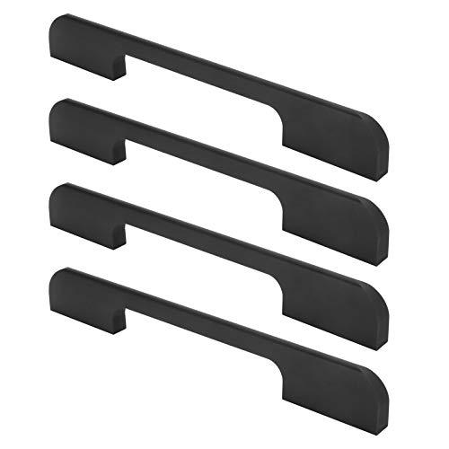 Tirador de armario, tirador de cajón duradero, 4 juegos de piezas de muebles de artesanía fina de base(American drawer handle 128 aperture black)