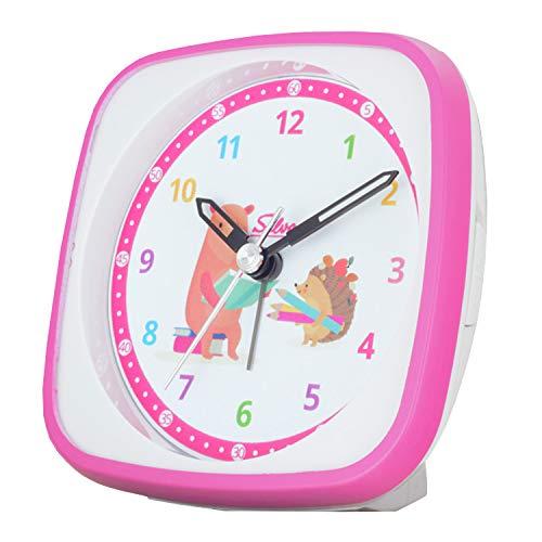 SELVA Quarzwecker für die Einschulung mit Igel und Bär Motiv pink/Weiss. Schleichende Sekunde lautlo, perfekt zur Einschulung, buntes lern Zifferblatt mit Licht und Weckwiederholung
