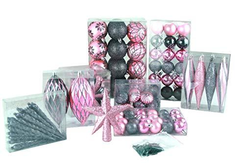 Geschenkestadl 100 teilig Weihnachtskugel bis Ø 6 cm 2-Farben (Rosa Anthrazit)