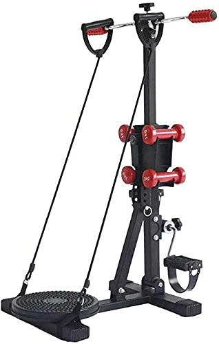LZXH Pedal eléctrico Mini máquina de rehabilitación Pedal ejercitador Bicicleta estática con 4 Mancuernas y Placa Twister, Bicicleta de Fitness Ajustable para Ancianos, Ejercicios de rehabilitación