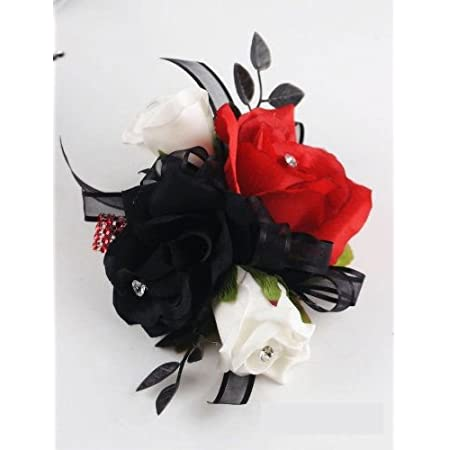 Wrist Corsage Black Rose with Red ribbon on pearl bracelet Christmas Corsage