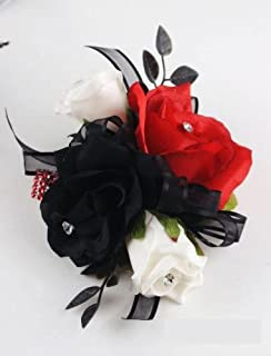 Angel Isabella Wrist Corsage - Black, White and Red Roses
