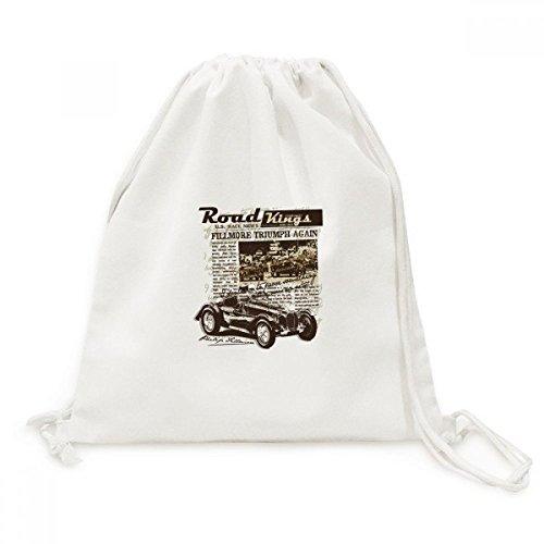 DIYthinker Classic Cars Zeitung Muster Illustration Leinwand Rucksack-Reise Einkaufstaschen