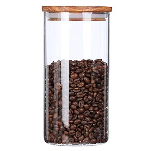 KKC Glasbehälter mit Deckel 1150ML Vorratsdosen Glas mit Holz Deckel Vorratsgläser Luftdicht Kaffeedose Keksdose Tee Glas Behälter