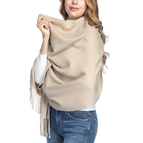 Extra Large Thick Soft Cashmere Wool Shawl Wraps for Women - PoilTreeWing Pashmina Scarf(Light Camel)
