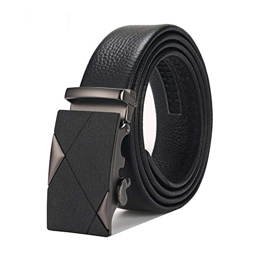 LOZOWO Men's Automatic Sliding Buckle Ratchet Belt Casual Jeans Top Leather Roller Buckle Exquisite Gift Box - Trimming (50 in, style 3)