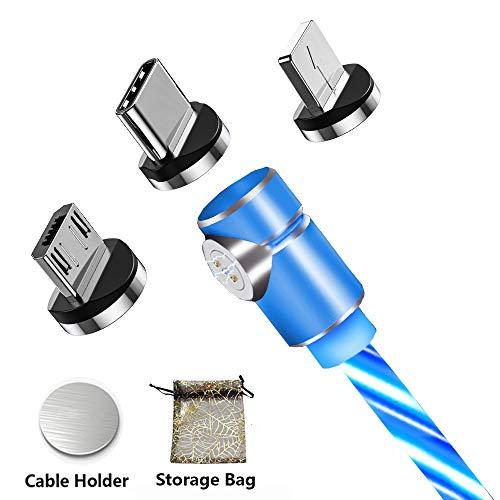 Kyerivs Cable Magnetico Micro USB Tipo C Lighting Carga Rápida y Datos Sincronización Cargador Multi 3 en 1 Cables con luz LED Que Fluye para Samsung Series/Huawei/i-Products,Xiaomi/Sony y más