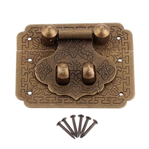 1 pieza 50 * 40mm bronce antiguo caja de latón cerrojo de palanca hebillas de pestillo paracaja maleta Clip broche herrajes para muebles