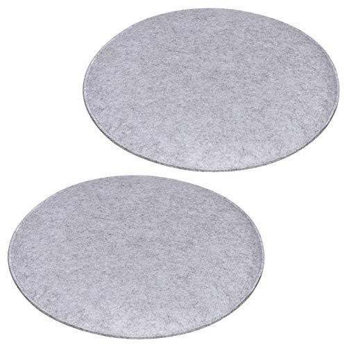 IDIMEX Sitzkissen JONITA aus Filzstoff, Stuhlkissen Sitzpolster Stuhlpolster, im 2er Set, mit Filzstoff in grau und Polsterung rund