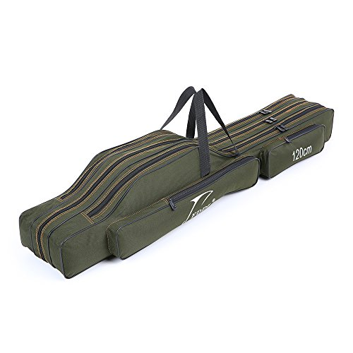 Lixada Portable Canvas Fishing Rod Carrier Fishing Pole and Reel Organizer Bag Fishing Gear Carry Case Rod & Reel Storage Bag