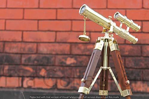 MALLA INC Telescopio náutico latón con Forma de Pirata de 10 Pulgadas, Doble Barril, Estilo Marinero Antiguo, telescopio con trípode de Madera, decoración náutica, Regalo