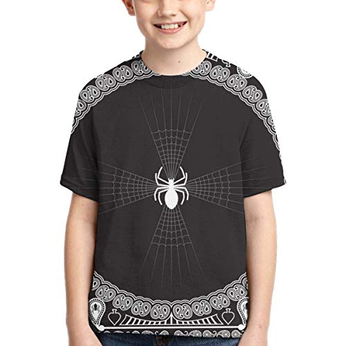 XCNGG Niños Tops Camisetas Youth Short Sleeve T-Shirts Bandana-Pattern-Skull-and-Spider-Vector Kids Casual Graphics Tees
