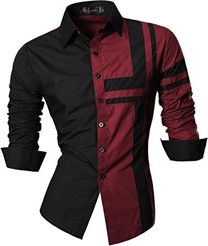 jeansian De Manga Larga De Los Hombres De Moda Slim Fit Camisas Men Fashion Shirts Z014 Winered XL