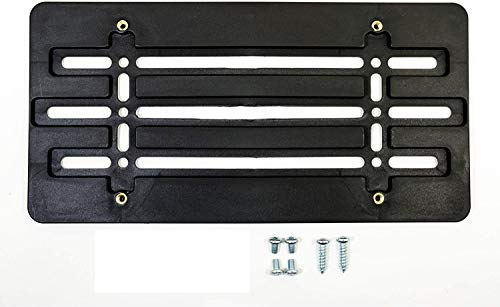Universal Front License Plate Tag Holder Mounting Mount Relocator Adapter Bumper Bracket for AUTO CAR Truck Van SUV Golf CART New (2 Screws 4 Bolts & 4 Built in Nuts - Included !!)