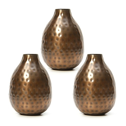 """Hosley Set of 3 Antique Bronze Metal Bud Vases - 4.5"""" High. Ideal Gift for Wedding, Bridal, Home, Study, Spa or Aromatherapy O3"""