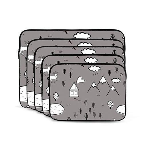 KDIEDIEAS Cute Scandinavian Landscape with Animals Trees 12/13/15/17 Inch Laptop Sleeve Bag for MacBook Air 13 15 MacBook Pro Portable Zipper Laptop Bag Tablet Bag,Diving Fabric,Waterproof