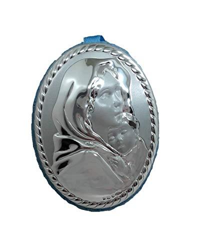 Medalla de cuna de Virgen con niño, maternidad, en color azul