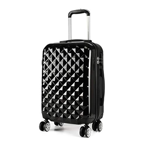 Kono 20' Hand Luggage Lightweight Hard Shell PC+ABS Suitcase 4 Spinner Wheels 360 Degree Rolling Cabin (Small, Black)