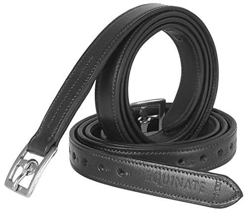 Equinate Leder Steigbügelriemen Superior mit Edelstahlschnallen Schwarz 140