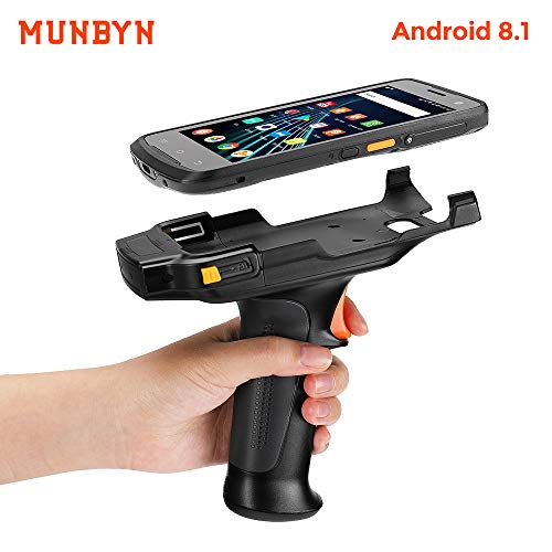 MUNBYN Android Barcode Scanner Pistol Grip, 2D Android Scanner Handheld with Zebra 4710, with Qualcomm CPU, Dual-Band Wi-Fi, NFC, and 4G Full Netcom for Warehouse, Logistics for Enterprise WMS Bar Code Scanners