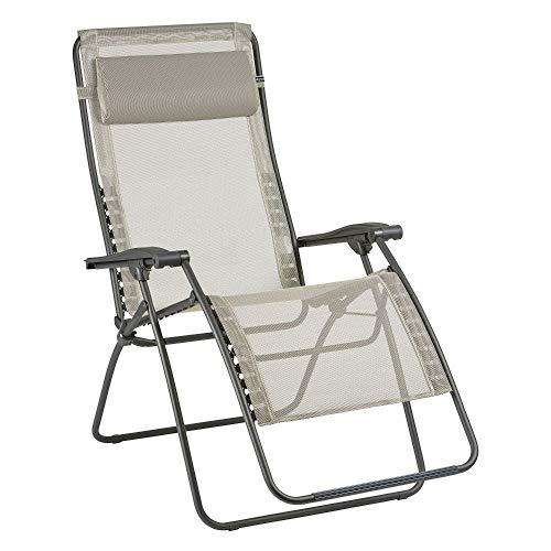 Lafuma Großer Relax-Liegestuhl, Klappbar und verstellbar, RSXA Clip XL, Batyline, Beige (Centeno), LFM2040-8548