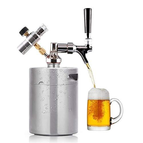 Naturalmente Elaboración de la cerveza de acero barril barril de cerveza a presión Sistema inoxidable Growler barril de cerveza Grifo Llave ajustable superior Kit de cargador Orgánico ( Color : 8L )