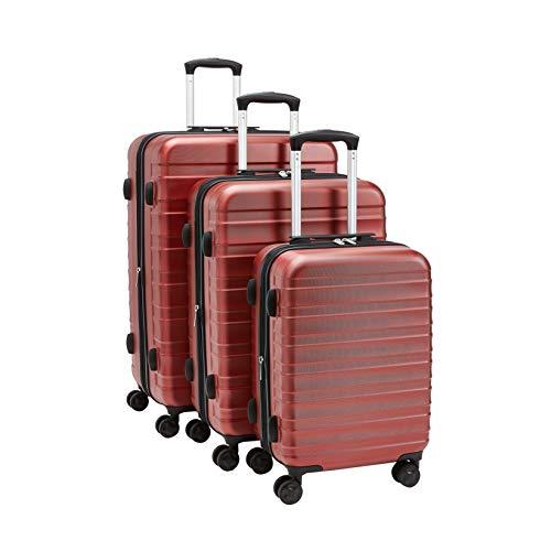 AmazonBasics - Juego de maletas rígidas de primera calidad: 56 cm, 68 cm y 78 cm, color rojo
