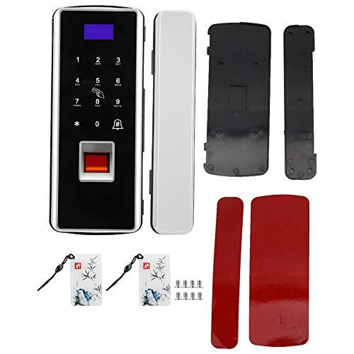 Cerradura de puerta con huella digital, cerradura de cerrojo con teclado anti-mirón para apartamento para oficina para hogar para puerta de vidrio(Silver, 10)