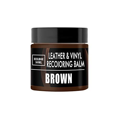 Leather Repair Cream for Furniture Sofa Car Seats Boots, 2PCS Dark Brown Leather Recoloring Balm with Accessory Kit Brown