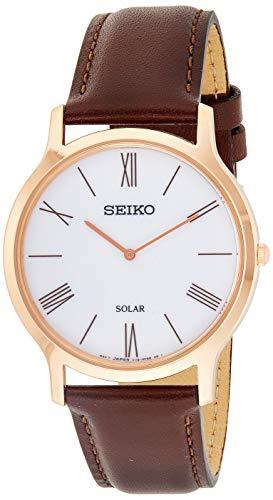 Seiko Solar Herren-Uhr Edelstahl mit Lederband SUP854P1