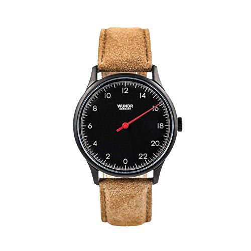 WUNDRWATCH – die 24h Einzeigeruhr für Herren mit Wechselarmbändern (Schweizer Uhrwerk   Italienisches Leder   Natostraps)