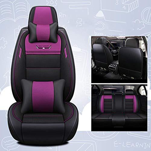 LUOLONG autostoelovertrek stoelovertrek zitkussen, (voor+achter) leder&vlas autostoelovertrekken voor Jaguar Alle modellen Xf Xe Xj F-Pace F-type merk stevige zachte Pu lederen stoelovertrekken Purple Deluxe