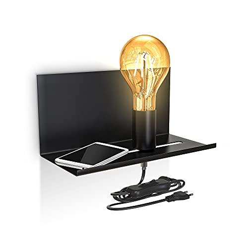 B.K.Licht applique murale interieur, luminaire mural rétro, lampe de chevet avec étagère, interrupteur, finition noire matte, pour ampoule E27 10W max