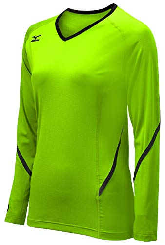 Mizuno Damen Youth Techno Generation Long Sleeve Jeresy, Electric Green/Black, M