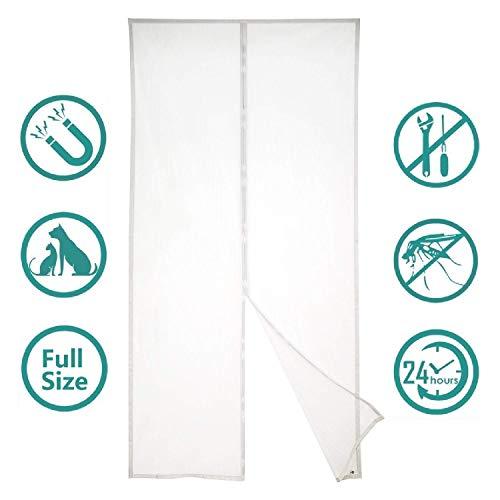 SODKK Mosquitera Puerta 70x230cm, Mosquitera Magnética para Puertas, Apagar Automáticamente, Circulacion de Aire, para Pasillos/Puertas - Blanco