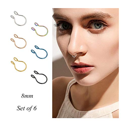 Fake Septum Nose Ring Fake Nose Rings 20g Hoop Nose Ring Gold Rose Gold Silver 8mm Non Pierced Clip Nose Ring Faux Body Piercing Jewelry for Women Men 6 Pcs