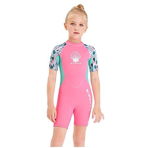 HOUWENJ Snorkeling Crema Solare Tuta da Sub per Bambini 2 5 Mm Costume da Bagno Intero Caldo per Ragazze Manica Corta Abbigliamento per Meduse da Surf Freddo Rosa,Pink-XXL